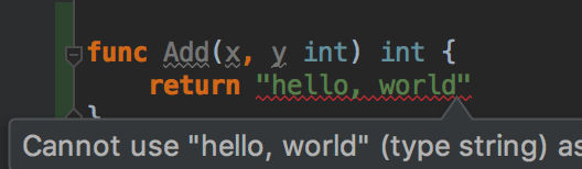 our IDE warns us that we return the wrong type